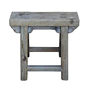 Chinese Raw Wood Rough Finish Accent Single Sitting Stool Acs3186