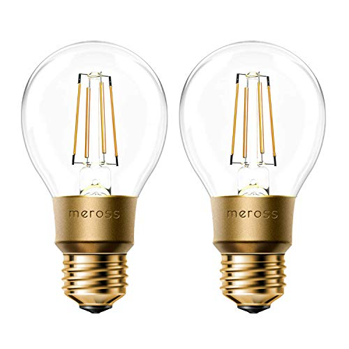 - meross Smart Wi-Fi LED Bulb, Vintage Edison Style, Dimmable, 60W Equivalent, Compatible with Amazon Alexa, Google Assistant and IFTTT, E26 A19 Light Bulb, No Hub Required - 2 Pack