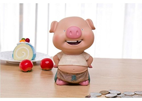 S-Size Kawaii Cute Pig Piggy Bank Resin Personalized Baby Nursery Decor (Tooth collapse) by GH8