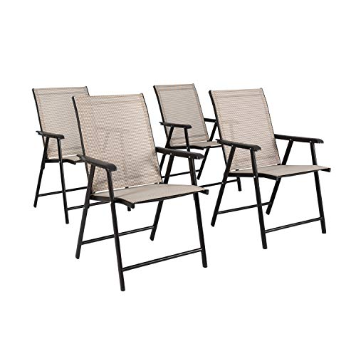 Ulax furniture New Patio Folding Chair Outdoor Dining Arm Chair Set of Four (Beige)
