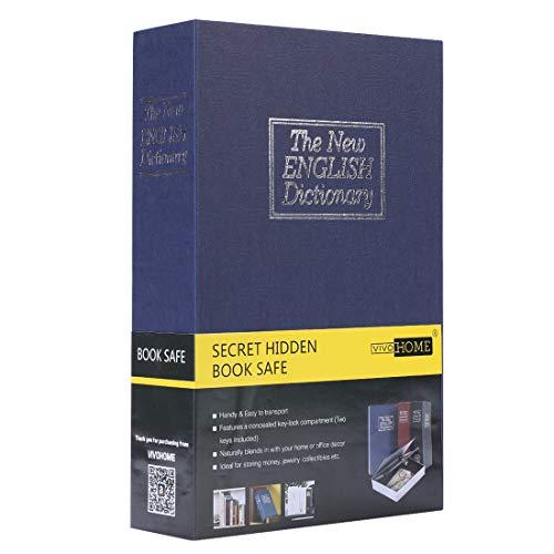 VIVOHOME Portable Dictionary Diversion Secret Hidden Fake Book Safe with Key Lock Blue