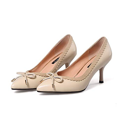 APL11033 Bows Shoes Solid Pumps Womens Urethane apricot Ruched BalaMasa 4B0qY