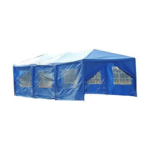 Outsunny 10' x 30' Gazebo Canopy Party Tent w/ Removable Side Walls - Blue (Blue Gazebo)