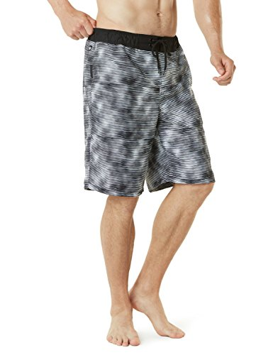 TSLA Men's 11 Inches Swimtrunks Quick Dry Water Beach, Color Block(msb02) - Abstract Black, 3X-Large.