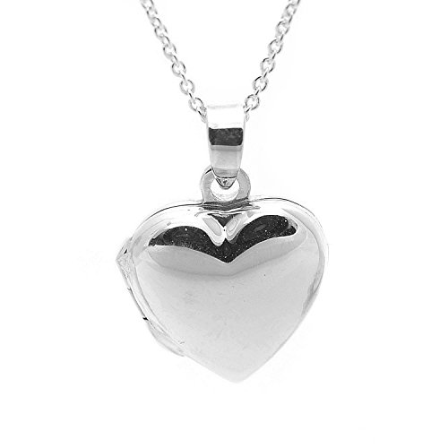 (Spinningdaisy Sterling Silver Puffed Heart Locket Necklace)