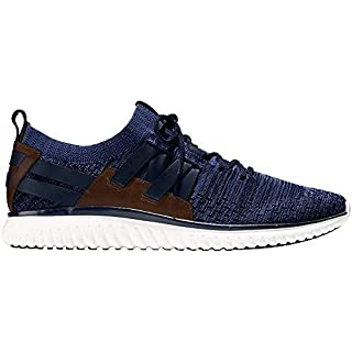 Cole Haan Men's Grand Motion Woven Stitchlite Sneaker, Navy Ink/Peony Knit/British Tan/Optic White, 11 W US