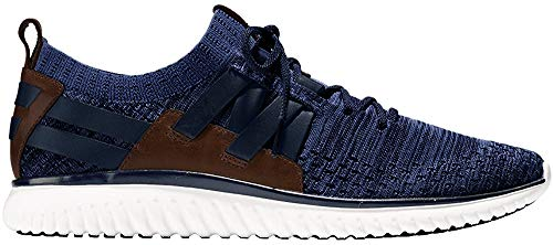 Cole Haan Men's Grand Motion Woven Stitchlite Sneaker, Navy Ink/Peony Knit/British Tan/Optic White, 12 M US (Cole Haan Leather Sneaker Men)