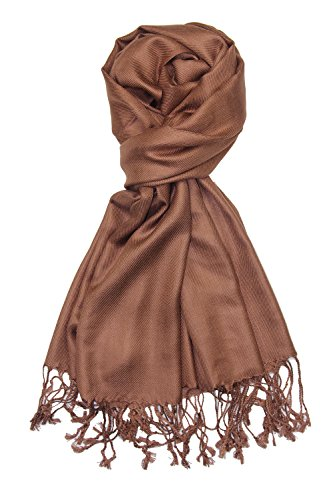 (Achillea Large Soft Silky Pashmina Shawl Wrap Scarf in Solid Colors (Cocoa Brown))