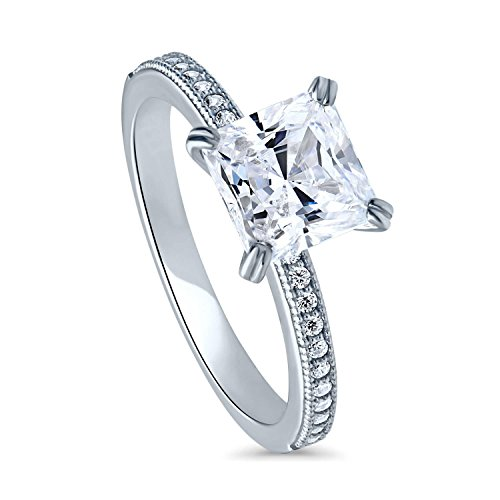 BERRICLE Rhodium Plated Sterling Silver Princess Cut Cubic Zirconia CZ Solitaire Engagement Ring 2.11 CTW Size 5.5