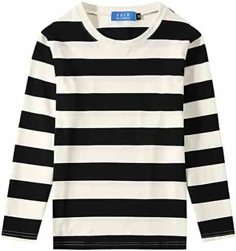 593b354b SSLR Big Boys' Cotton Round Neck Casual Long Sleeves Stripe T-Shirt