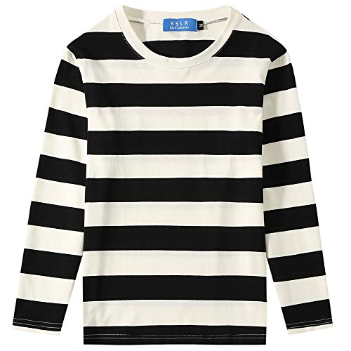 SSLR Big Boys' Cotton Crew Neck Casual Long Sleeves Stripe T-Shirt (Large(14-16), White Black)]()