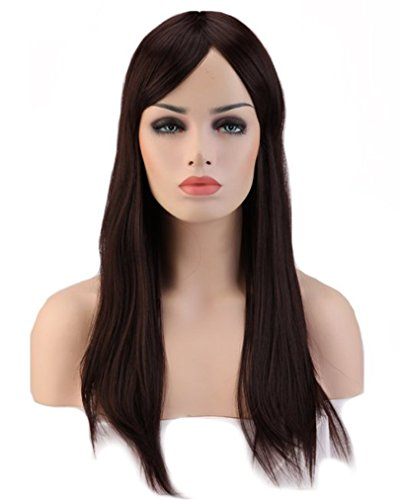 [23inch / 58cm Costume Makeup Wig with Bangs Straight Long Wig for Women #2 Dark Brown] (Costume Long Brown Hair)
