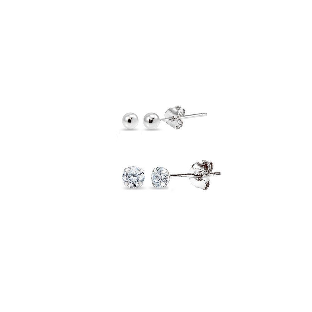 2 Pairs 14K White Gold Unisex Mini Small Ball Bead and Tiny Round 2mm CZ Stud Earrings Set
