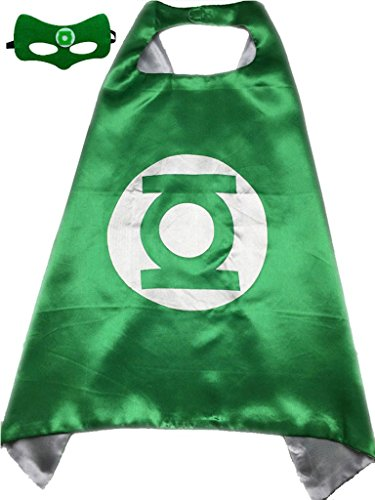 Green Lantern Set (Superhero or Princess CAPE & MASK SET Kids Childrens Halloween Costume (Green & White (Green)