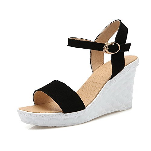 AmoonyFashion Womens Imitated Suede High-Heels Open Toe Solid Buckle Wedges-Sandals Black zl5GR
