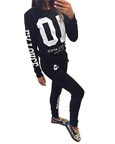 Minetom Mujer Otoño Camisetas De Manga Larga Pantalones Chándales Conjuntos Deportivos Deportes Jogging Chaquetas Sudaderas Negro