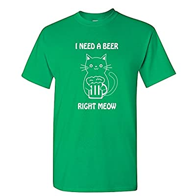 Cat I Need A Beer Meow Cute Cat Lover Funny St. Patrick's Day T-Shirt