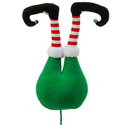 Green Plush Elf Butt Pick Accent Christmas Tree Ornament Decor, 20 Inch x 9 inch x 5.5 inch on Bendable Stick