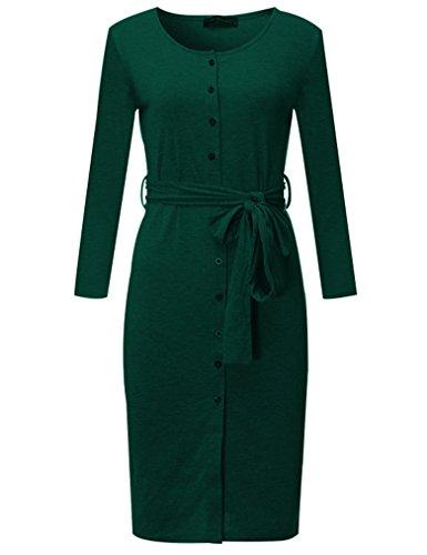 Kancystore Women's Long Sleeve Round Collar Business Buttons Sheath Dress (Dark Green, M) by Kancystore (Image #1)