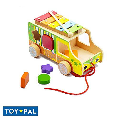ToyPal Shape Sorter Toy for 1 Year Old - Wooden Toys for 1 2 3 Year Old - Colorful Shape Sorter Toy for 1 2 3 Year Old - Wooden Shape Sorting Toy for Infant - Take Along Bus for Boys & Girls