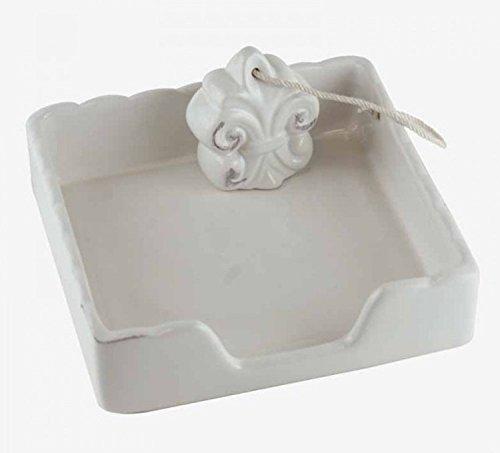Q&Q 1821132 Small White Ceramic Square Napkin Holder with Fleur de Lis Weight