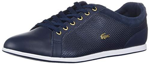 Lacoste Women's Rey Sneaker, Navy/Gold, 8.5 Medium US
