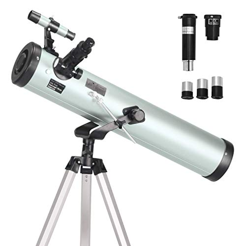 ToyerBee Telescope 76mm Aperture 700MM, with 3 Eyepieces H20mm H12.5mm H4mm&Tripod&Finder Scope&Moon Mirror, 70X-350X Magnification- Reflector Telescope for Kids& Students&Adults&Astronomy Beginners (Best Type Of Telescope)