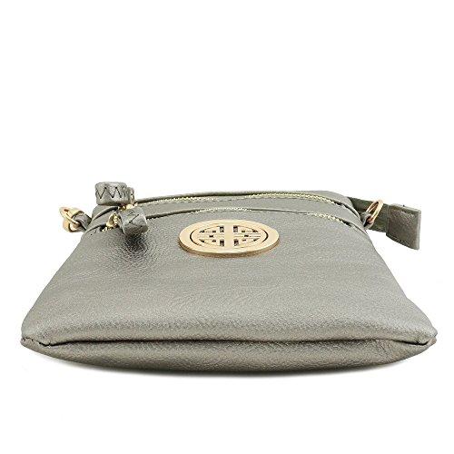 Zipper Pewter Pocket Light Wristlet Bag Emblem Crossbody with Multi dC84Ovd