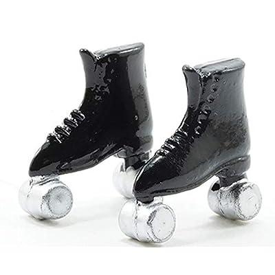 Multi Minis Dollhouse Miniature 1:12 Scale Pair of Black Roller Skates: Toys & Games