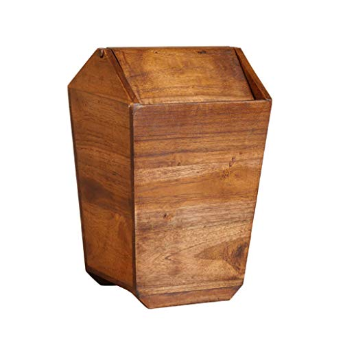 - GSHWJS- trash can Retro Creative Teak Trash Can Home Living Room Kitchen Trash Can with Lid