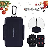 YOUKaDa Water-Resistant Memory Card Case Holder Storage with Carabiner for 8 SD Cards & 8 Micro SD Cards (Black)