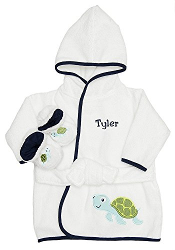 PERSONALIZED Monogrammed Sea Turtle Terry Hooded Bath Robe & Slipper Set Sz 0-9 Mo