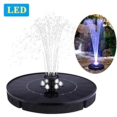 """Immuson Solar Fountain Pump with LED Lights, 2.4W Free Standing Bird Bath Fountain Water Pump, Outdoor Floating Fountain Pump Kit for Garden, Pool, Pond, Patio Ideal Decoration, 7"""" Diameter"""