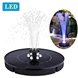 Immuson Solar Fountain Pump with LED Lights, 2.4W Free Standing Bird Bath Fountain Water Pump, Outdoor Floating Fountain Pump Kit for Garden, Pool, Pond, Patio Ideal Decoration, 7' Diameter