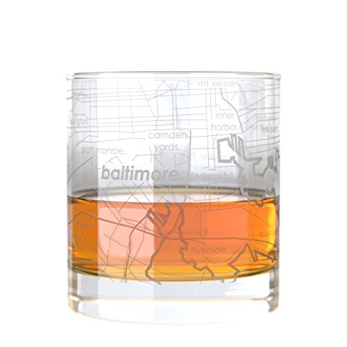 Uncommon Green Baltimore Map Rocks Glass Etched - Glasses Baltimore