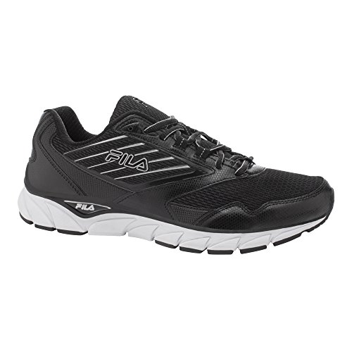Fila Mens Proze Running Sneakers, Mesh, Leather Black, White, Metallic Silver
