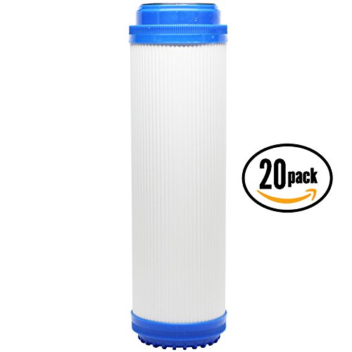 20-Pack Replacement AMI H-H14FBE33 Granular Activated Carbon Filter - Universal 10-inch Cartridge for AMI 10'' Standard Filter Housing - Denali Pure Brand by Denali Pure