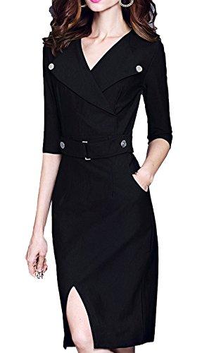 Scothen Vintage de la Mujer de manga larga elegante vestido de partido de negocios vestido de cóctel Knielanges vestido de noche Bodycon vestido negro