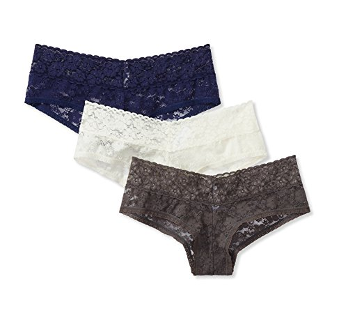 Amazon Brand - Mae Women's Lace Cheeky Hipster Panty, 3 pack, White/Navy/Grey, X-Large