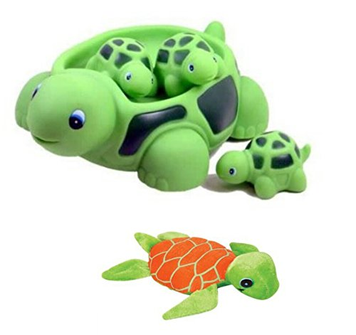 New! Cute Set Of Turtle Family Bath Set (set of 4) - Bath Tub Toy + 6'' Mini Plush Sea Turtle toy for kids! by MK Trading
