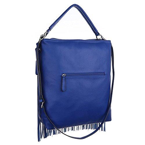 Damen Tasche, Große Handtasche Mit Fransen, Kunstleder, TA-9335-19 Blau