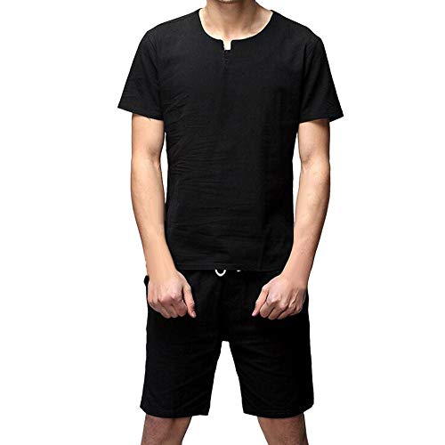 iYYVV Two Pieces Linen Men's Casual Slim Fit Short Sleeve Shirt Top Blouse Pants Sets