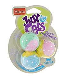 Hartz 12513 Just For Cats Sparkle Madness Toys Assorted Colors 3 Count