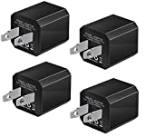 USB Wall Charger, 4-Pack Universal 5V/1A Mini Portable Travel Adapter High Speed Cube 1.0A Output Compatible for iPhone iPod Samsung HTC LG iPad Nokia (Black)