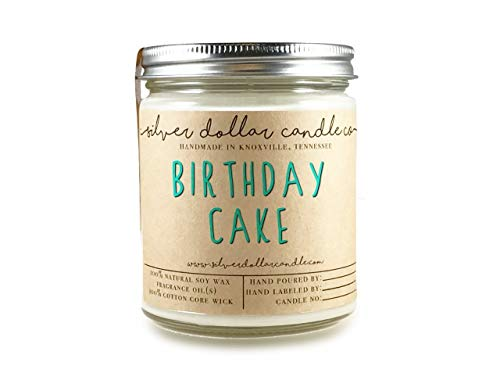 Birthday Cake Scented Candle 8oz, Cake Scent Birthday Gift by Silver Dollar Candle Co. ()