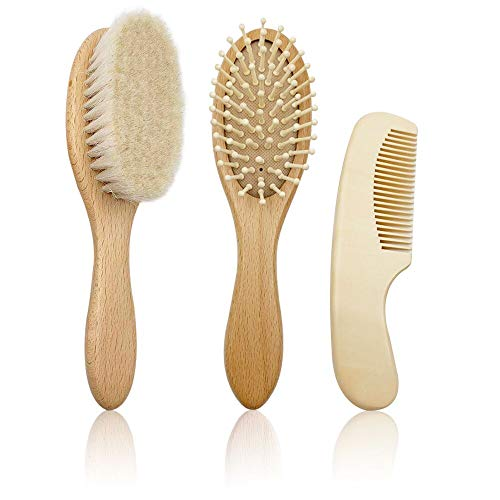 CARELAX 3-Piece Wooden Baby Hair Brush, Natural Goat Bristle & Comb Set for Newborns & Toddlers, Ideal for Cradle Cap, Perfect Baby Shower and Registry -
