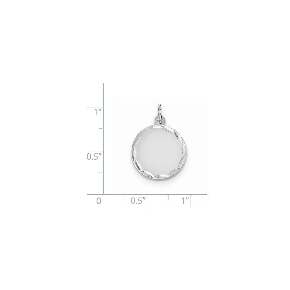 14K White Gold Etched .009 Gauge Engravable Round Disc Charm Pendant