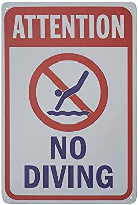 Monifith Funny Safety Signs Attention No Diving Rules Signs Swimming Pool  Metal Sign 8x12 Inch