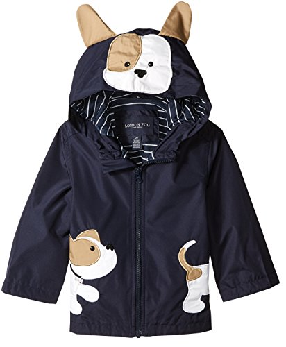 London Fog Toddler Boys' Little Animal Rainslicker Rain Jacket, Navy Puppy, 3T