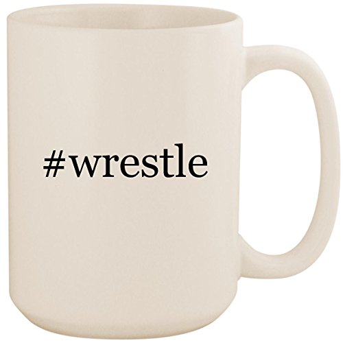 (#wrestle - White Hashtag 15oz Ceramic Coffee Mug Cup)